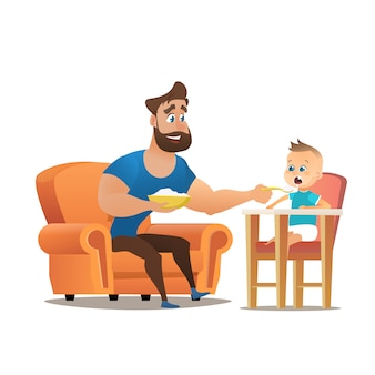 Vector cartoon young smiling father sitting chair