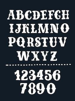 손으로 그린 빈티지 라벨 글꼴의 벡터 판지 그림입니다. 레트로 글꼴 및 숫자입니다. 검정색 배경에 빈티지 흰색 abc.+