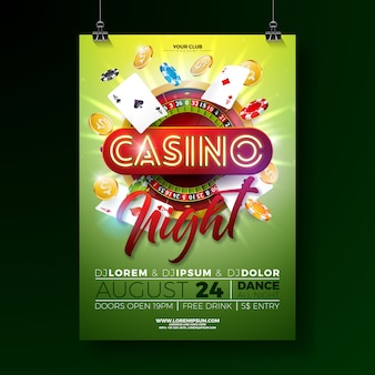 Vector casino night poster illustration with gambling design