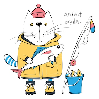 Vector cat fisherman and his catch