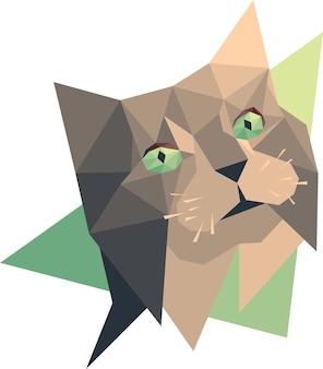 ベクトル猫低ポリスタイル。デジタルアート