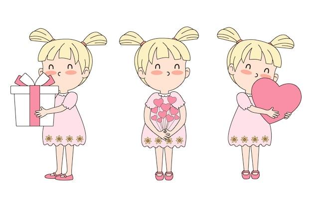 Векторный набор celebratioin милая девушка с подарком, сердцем и цветами. концепция валентина. eps 10 вектор