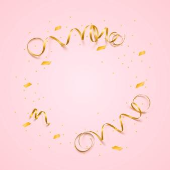 ピンクの背景に蛇紋石と紙吹雪とカーニバルのリボンとベクトルのお祝いテンプレート