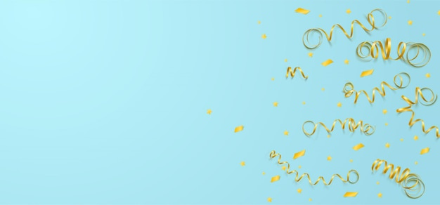 Vector celebration template with serpentine and confetti and carnival ribbon