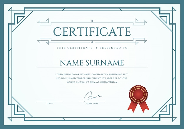 Vector certificate or diploma template
