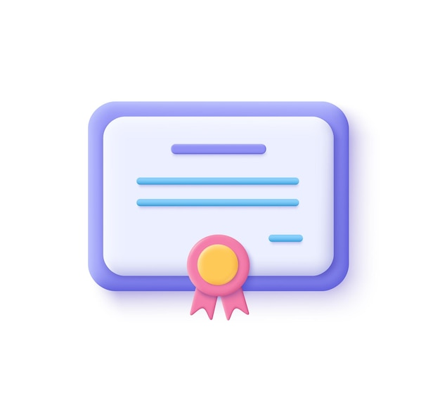 ベクトル証明書アイコン。達成、賞、助成金、卒業証書の概念。 3dベクトルイラスト。