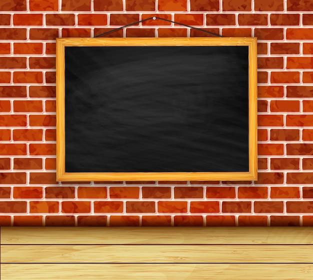 Вектор доске на фоне кирпичной стены