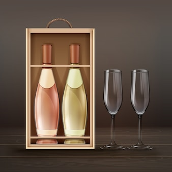 Вектор бокалы для шампанского и бутылки с деревянным футляром, изолированные на фоне darck