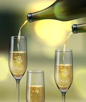 Bicchieri di champagne vettoriale e versando da bottiglie su sfondo bokeh