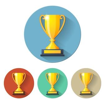 Вектор кубок чемпионов плоский значок. векторная иллюстрация