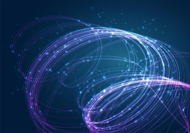 明るいフレアグレアと青い背景のベクトル混沌としたスパイラル