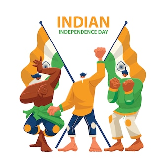 Vector character celebrating indian independence day
