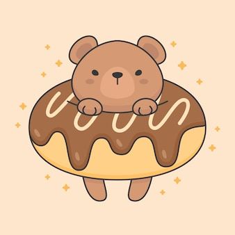 Vector character of cute bear in a chocolate doughnut