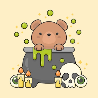 Vector character of cute bear in a poison pot with skull and candles