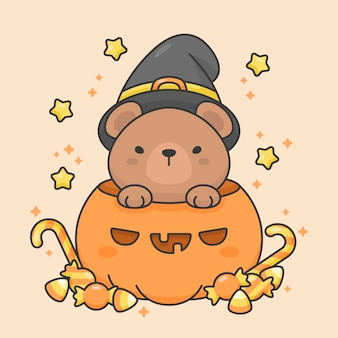 Vector character of cute bear in a pumpkin with candy and stars halloween costume