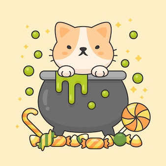 Vector character of cute cat in a poison pot with sweet candies