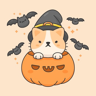 Vector character of cute cat in a pumpkin wear halloween hat and bats