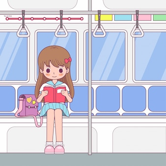 Vector character cute girl reading a book