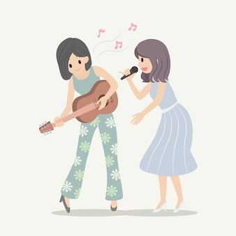 Vector character female singer and guitarist playing music