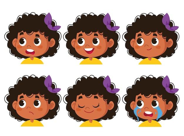 벡터 문자 재미입니다. 다른 감정을 보여주는 흑인 여학생의 귀여운 얼굴 그림. 흰색 배경 클립 아트에 고립 된 아바타 아프리카 재미