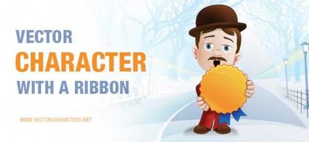 Vector character holding a ribbon