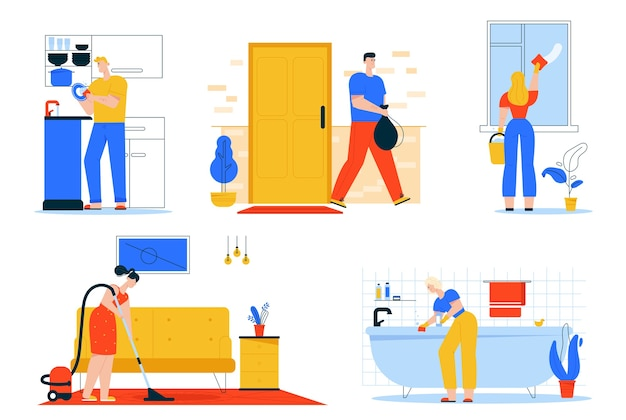 Vector character illustration of cleaning house scenes, doing housework, daily routine. man washes dishes in kitchen, throws garbage. woman washes window and bath, vacuuming floor in living room