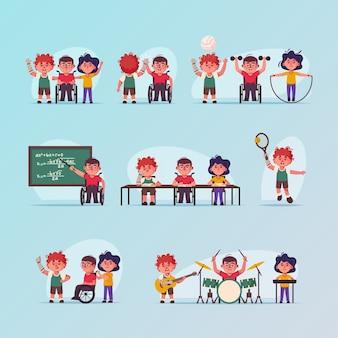 ベクトル文字イラスト無効子シーンセット。車椅子の男の子、義手。子供たちは学校に行き、スポーツをし、音楽の趣味をします。友情、子供時代、多様性、アクセシビリティの概念
