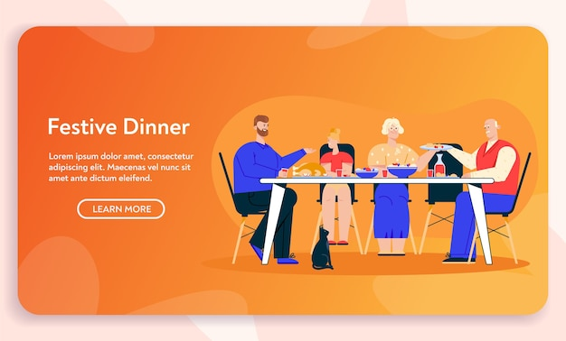 Vector character illustration of family dinner. grandfather, grandmother, daughter and dad sitting at festive table, eating dishes.