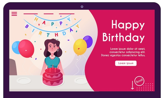 Vector character illustration of happy woman celebrate birthday. girl sits at festive table, candles cake, balloons, confetti and garland with sign happy birthday.