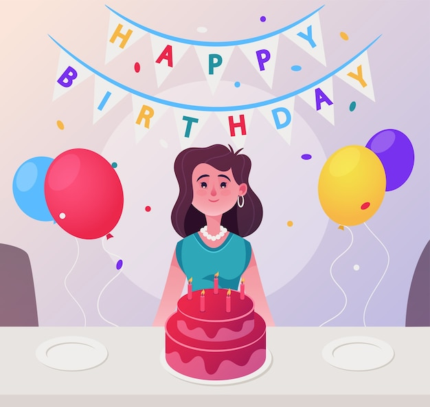 Vector character illustration happy woman celebrate birthday. young girl sits at festive table, candles cake, balloons, confetti and garland with sign happy birthday. greetings and holiday decorations