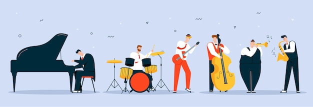 Vector character illustration of jazz band perform music. musicians play instruments: piano, drums, guitar, double bass, trumpet and saxophone. hobbies and profession, art, stage artists, concert