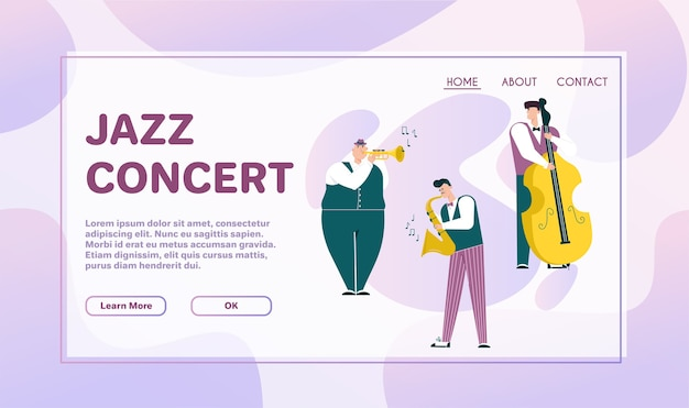 Vector character illustration of jazz band perform music. musicians play instruments: piano, drums, guitar, double bass, trumpet and saxophone