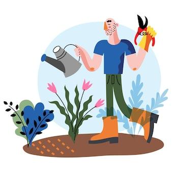 創造的な趣味のベクトル文字イラスト。庭で働く男。庭師の植物、花を育てる