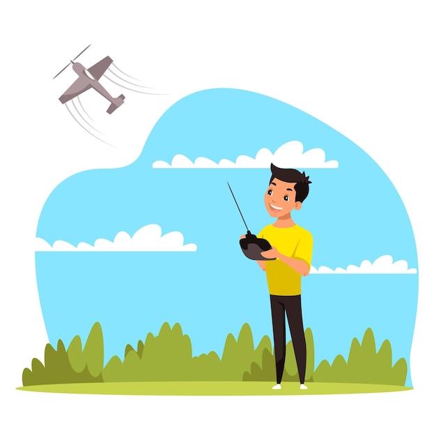 무선 조종 비행기를 가지고 노는 귀여운 소년의 벡터 캐릭터 삽화. 웃는 아이가 조종하는 비행 Rc 비행기. 도시 공원에서 어린이 활동 게임. 행복한 어린 시절, 취미, 취미 개념 프리미엄 벡터