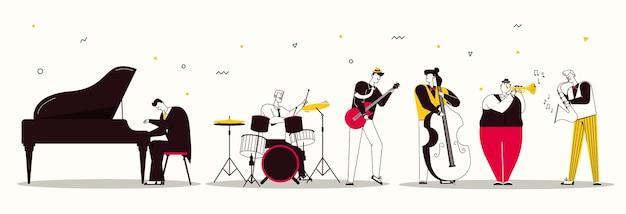 ジャズバンドのベクターキャラクターイラストが音楽を演奏します。ミュージシャンは楽器を演奏します:ピアノ、ドラム、ギター、コントラバス、トランペット、サックス