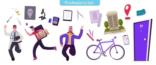 職業セットのベクトル文字イラスト。医療機器を持つ医師。宅配便で荷物をお届けします。建築家は建物を設計します。顕微鏡、薬、自転車、家のモデルの孤立したオブジェクト