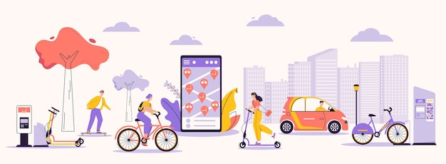 都市インフラと現代のライフスタイルのベクトル文字イラスト。レンタルサービスを利用する男女:スケートボード、キックスクーター、自転車、電気自動車。