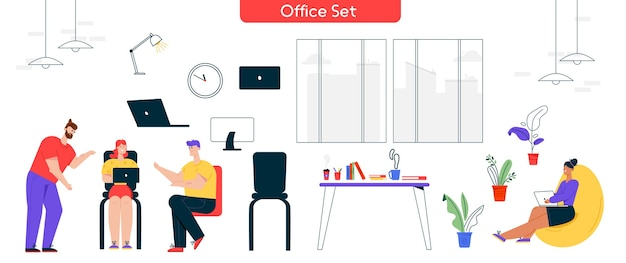 オフィスでの作業プロセスのベクトル文字イラスト。男性、女性の同僚の会議のセットは、タスクについて話し合います。インテリアデザイン要素:ラップトップ、コンピューター、ワークデスク、人間工学に基づいた家具の隔離されたオブジェクト