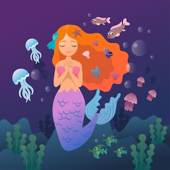 Vector character mermaid and aquatic animals