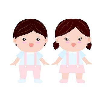 Векторный характер улыбки милый мальчик и девочки, стоящие в школьной форме детского сада с белым фоном, плоский дизайн мультфильма