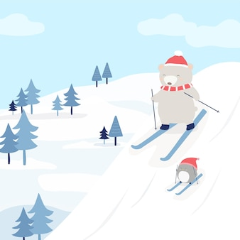 Vector character with a bear and a penguin skiing on the snow