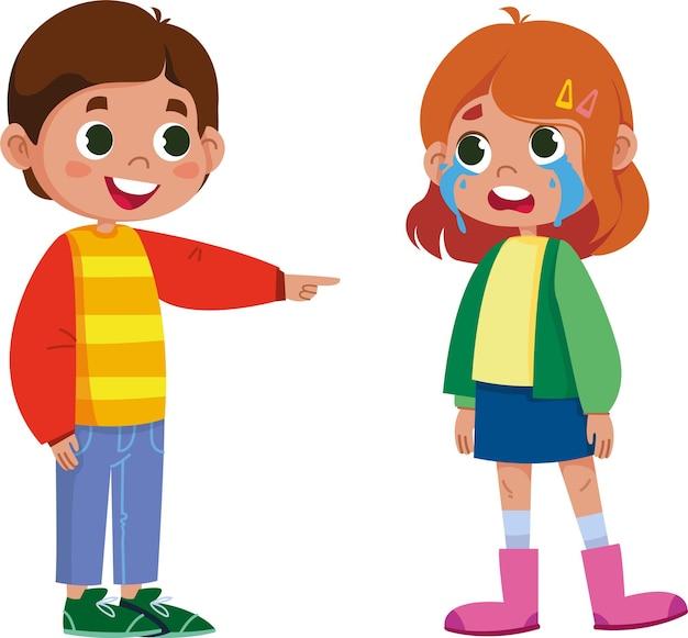 Vector characters children bullying abuser cartoon social illustration of bullying in school