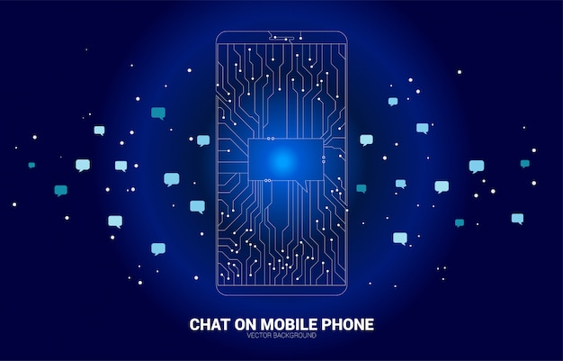 Vector chat bubble on mobile phone from dot connect line circuit board style. concept of communication network and chat bot technology.
