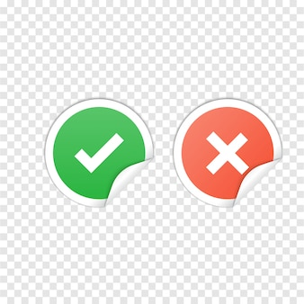 Vector check mark icons on transparent