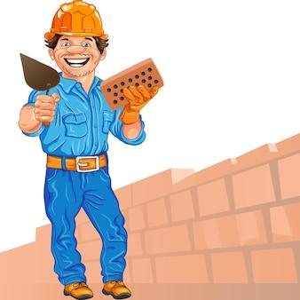 Вектор веселый строитель каменщик в оранжевом шлеме с bri Premium векторы