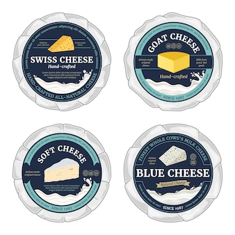 Vector cheese round labels and cheese wheels wrapped in paper