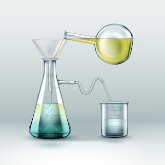 Vector chemical reactions research is done using glass flasks full of yellow blue liquid, funnel and beaker isolated on background