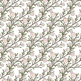 Vector cherry flowers seamless pattern. for fabric textile or package design