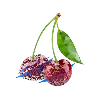 Vector cherry in low poly style. digital art