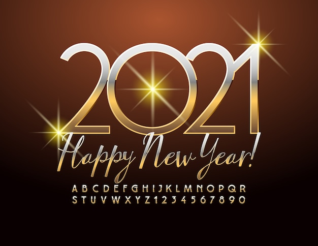 Vector chic greeting card happy new year 2021 with gold metallic font. elegant elite alphabet letters and numbers